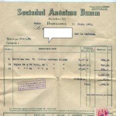 Facturas antiguas: DAMM S.A. ANTIGUA FACTURA DE SUMINISTROS + SOBRE CON REMITE COMERCIAL AÑO 1952. Lote 48135028
