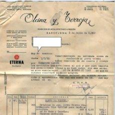 Facturas antiguas: SIFON ETERNA OLCINA Y TORROJA BARCELONA. FACTURA +LETRA + SOBRE REMITE COMERCIAL FRANQUEADO AÑO 1952. Lote 48167432