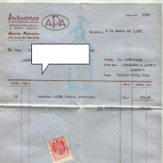 Facturas antiguas: SIFON A.P.A. FACTURA +LETRA (CUÑO BANCO TORTOSA) + SOBRE REMITE COMERCIAL FRANQUEADO AÑO 1951. Lote 48167480