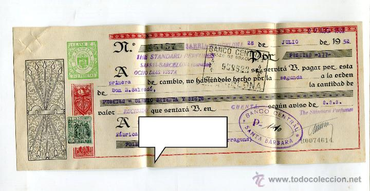 Facturas antiguas: ESENCIAS STANDARD PERFUMES BARCELONA FACTURA +LETRA + SOBRE REMITE COMERCIAL FRANQUEADO AÑO 1952 - Foto 2 - 48167557
