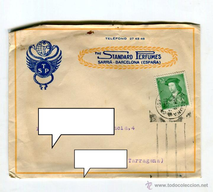 Facturas antiguas: ESENCIAS STANDARD PERFUMES BARCELONA FACTURA +LETRA + SOBRE REMITE COMERCIAL FRANQUEADO AÑO 1952 - Foto 3 - 48167557