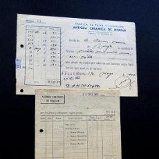 Facturas antiguas: FACTURA Y RECIBI / ANTIGUA CERAMICA DE BINEFAR / TEJAS Y LADRILLOS / 1951-52 / HUESCA. Lote 48406518