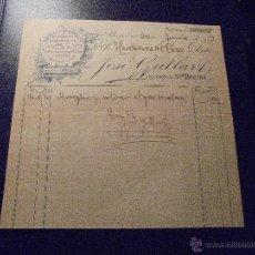Facturas antiguas: BARCELONA 1903 - FACTURA JOSE GALLART , INSTALACIONES COMPLETAS PARA AGUA Y GAS C. REGOMIR 6 . Lote 48573987