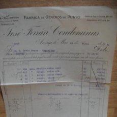 Facturas antiguas: FACTURA DE GENEROS DE PUNTO JOSE FERRAN CONDOMINAS - ARENYS DE MAR- AÑO 1931. Lote 48590359