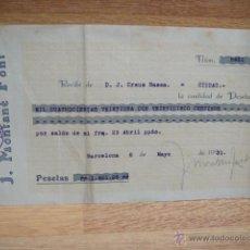 Facturas antiguas: RECIBO DE J. MONTANE FONT - BARCELONA AÑO 1931. Lote 48590368