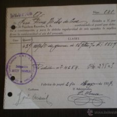 Facturas antiguas: FACTURA GUERRA CIVIL, ALCOY, ALICANTE, CNT AIT. Lote 48602999