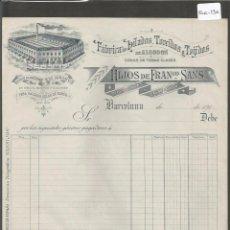 Facturas antiguas: FACTURA ANTIGUA - FABRICA DE HILADOS HIJOS FRANCISCO SANS - BARCELONA -( FAC-130) . Lote 48999337