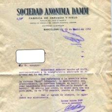 Facturas antiguas: DAMM SOCIEDAD ANONIMA ANTIGUA CARTA CON PRECIO DEL LITRO DE LA CERVEZA EN BARRIL (7,65 PTS) AÑO 1962. Lote 49047588