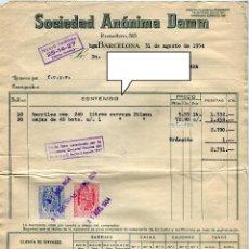 Facturas antiguas: DAMM SOCIEDAD ANONIMA ANTIGUA FACTURA DE SUMINISTROS AÑO 1954. Lote 49096970
