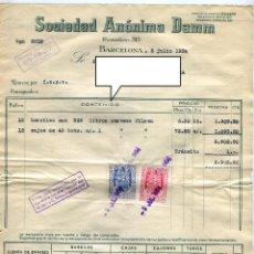 Fatture antiche: DAMM SOCIEDAD ANONIMA ANTIGUA FACTURA DE SUMINISTROS AÑO 1954. Lote 49097117