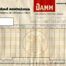 Facturas antiguas: DAMM SOCIEDAD ANONIMA ANTIGUA FACTURA DE SUMINISTROS AÑO 1967 MEDIDAS 31,5 X 21,5 CMS. Lote 49098204