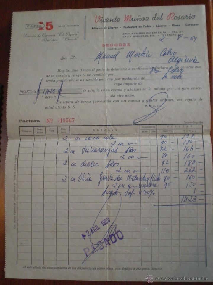 1969 SEGORBE (CASTELLON). FACTURA VICENTE MUÑOZ DEL ROSARIO. FABRICA LICORES, TOSTADERO CAFES (Coleccionismo - Documentos - Facturas Antiguas)