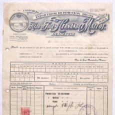 Facturas antiguas: FACTURA EXPORTADOR PIMENTON HIJO DE JOSE HERNANDEZ MATEOS. LOS TRES AMIGOS. PLASENCIA CACERES 1947. Lote 49539932