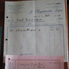 Faturas antigas: 1933 ALCIRA (VALENCIA). FACTURA Y RECIBO J. NEGUEROLES SIFRE. ENVASES DE FRUTA. NICOLAS SALMERON 2. Lote 49671681