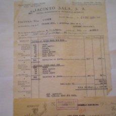Facturas antiguas: 1931 CORNELLA (BARCELONA). FACTURA Y LETRA JACINTO SALA. TINTES DOMESTICOS, PRODUCTOS QUIMICOS. Lote 49719458