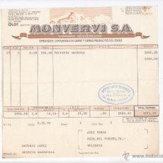 Factures anciennes: FACTURA DE LA EMPRESA DE ALIMENTACIÓN MONVERDI DE OLOT, GERONA.1976.. Lote 49785970