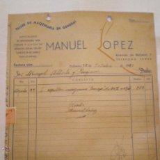 Facturas antiguas: 1952 VALENCIA. FACTURA MANUEL LOPEZ. TALLER MAQUINARIA GENERAL. ESPECIALIDAD CEPILLAR NARANJAS. Lote 49786779