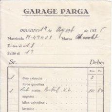 Facturas antiguas: FACTURA. GARAGE PARGA. RIBADEO. LUGO. 1935.. Lote 49903845