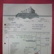 Fatture antiche: FACTURA PRODUCTOS ALIMENTICIOS TASADA Y BELTRAN - SAN SEBASTIÁN 1954. Lote 50317026
