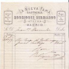 Facturas antiguas: FACTURA ANTIGUA. LA NUEVA FAMA. SASTRERÍA DE RODRÍGUEZ HERMANOS. MADRID 1879.. Lote 50624276