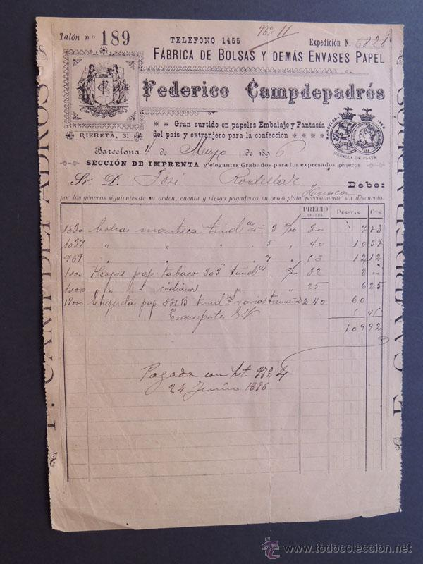 2d096a5e1 FACTURA / FABRICA DE BOLSAS Y ENVASES DE PAPEL / FEDERICO CAMDEPADROS /  BARCELONA 1896