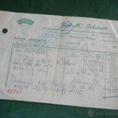 Facturas antiguas: FACTURA TALLER NEUMATICOS GOLOBART BARCELONA 1943. Lote 50854241