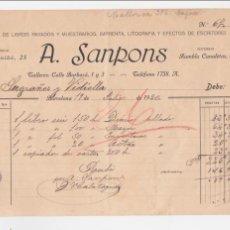 Facturas antiguas: RECIBO. A. SANPONS. FÁBRICA DE LIBROS RAYADOS Y MUESTRARIOS. IMPRENTA, LITOGRAFÍA. BARCELONA, 1920. Lote 50944454