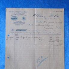 Facturas antiguas: FACTURA. RIBAS Y JULIÀ. FÁBRICA DE GÉNEROS DE PUNTO. MATARÓ, 1920. Lote 50956402