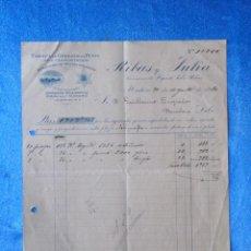 Facturas antiguas: FACTURA. RIBAS Y JULIÀ. FÁBRICA DE GÉNEROS DE PUNTO. MATARÓ, 1920. Lote 50956461