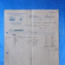 Facturas antiguas: FACTURA. RIBAS Y JULIÀ. FÁBRICA DE GÉNEROS DE PUNTO. MATARÓ, 1920. Lote 50956470