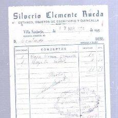 Faturas antigas: FACTURA. ESTANCO. SILVERIO CLEMENTE RUEDA. VILLA SANJURJO, MARRUECOS. 1954. Lote 192880515