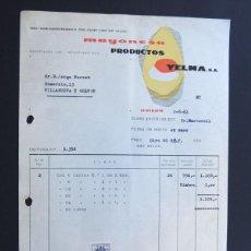 Faturas antigas: FACTURA / MAYONESA - PRODUCTOS YELMA / OVIEDO 1961. Lote 51260105