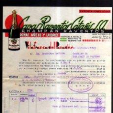 Facturas antiguas: ANTIGUA FACTURA. CAVAS RAVENTÓS CATASUS. VILAFRANCA DEL PENEDES. 1945. Lote 51390507
