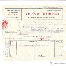 Facturas antiguas: 1952 FACTURA RELOJ DESPERTADOR BATAY, CAJA NIQUELADA, MAQUINARIA FINA-VICENTE BARCELO (MADRID). Lote 51470090