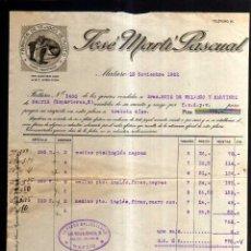 Facturas antiguas: ANTIGUO DOCUMENTO . FABRICA DE TEJIDOS DE PUNTO. JOSÉ MARTI PACUAL . MATARÓ. 1922. Lote 51481981