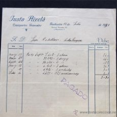 Facturas antiguas: FACTURA / TRANSPORTES GENERALES / JUSTO AIXELA / BARBASTRO 1931 / HUESCA. Lote 51585737