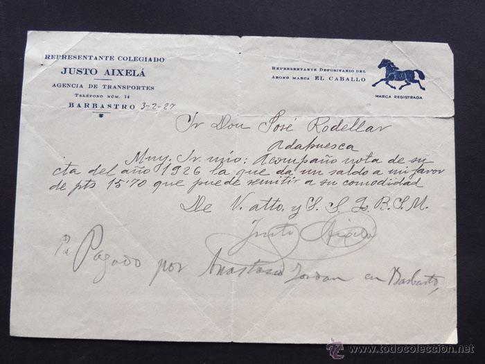 CARTA / TRANSPORTES / ABONO MARCA EL CABALLO / JUSTO AIXELA / BARBASTRO 1927 / HUESCA segunda mano