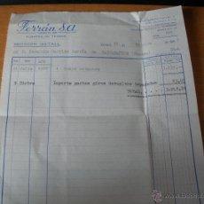 Facturas antiguas: 1968 - FACTURA DE UN TRAJE DE ESTAMBRE - ALMACENES DE TEJIDOS FERRAN S.A. - TERUEL - AÑO 1968. Lote 51706623