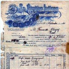 Facturas antiguas: FACTURA. LA PRIMITIVA INDIANA. GRAN FÁBRICA DE CHOCOLATES. GIJÓN. CAFÉS SELECTOS Y TÉS-. 1930. Lote 51714709