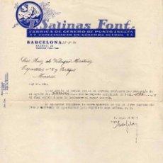 Facturas antiguas: FACTURA. T SALINAS FONT FÁBRICA DE GÉNEROS DE PUNTO INGLÉS. BARCELONA. 1934 FIRMA PROPIETARIO.. Lote 52138792