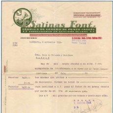 Facturas antiguas: FACTURA. T SALINAS FONT FÁBRICA DE GÉNEROS DE PUNTO INGLÉS. BARCELONA. 1934 FIRMA PROPIETARIO.. Lote 52138810