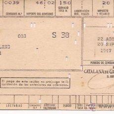 Facturas antiguas: FACTURA CATALANA DE GAS Y ELECTRICIDAD / 1947. Lote 52309912