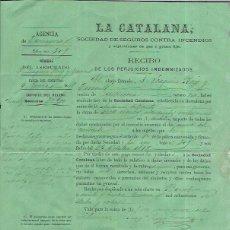 Fatture antiche: LA CATALANA SOCIEDAD DE SEGUROS CONTRA INCENDIOS RECIBO DE INDEMNIZACIÓN. 1968. Lote 104393379