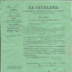 Factures anciennes: LA CATALANA SOCIEDAD DE SEGUROS CONTRA INCENDIOS RECIBO DE INDEMNIZACIÓN. 1969. Lote 52400333
