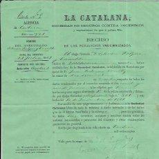Fatture antiche: LA CATALANA SOCIEDAD DE SEGUROS CONTRA INCENDIOS RECIBO DE INDEMNIZACIÓN. 1969. Lote 52400336