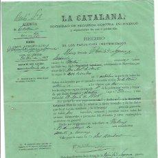 Fatture antiche: LA CATALANA SOCIEDAD DE SEGUROS CONTRA INCENDIOS RECIBO DE INDEMNIZACIÓN. 1969. Lote 52400344