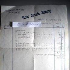 Facturas antiguas: ANTIGUA FACTURA Y RECIBO DE TRABAJOS DE ALBAÑILERIA EN TARRASSA- DEL AÑO 1964 -. Lote 52634282