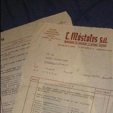 Faturas antigas: C. MÓSTOLES S.A. MAQUINARIAS Y MATERIAL ELECTRICO, FACTURA, 1951, MADRID - BAÑERES. Lote 52738577