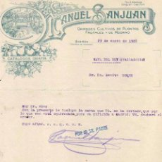 Facturas antiguas: MANUEL SANJUAN. GRANDES CULTIVOS DE PLANTAS FRUTALES Y DE ADORNO. SABIÑAN. ZARAGOZA. Lote 52841268