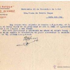 Facturas antiguas: VINOS PAYEGA. RICARDO ALVAREZ. SOTRONDIO. ASTURIAS. Lote 52842688